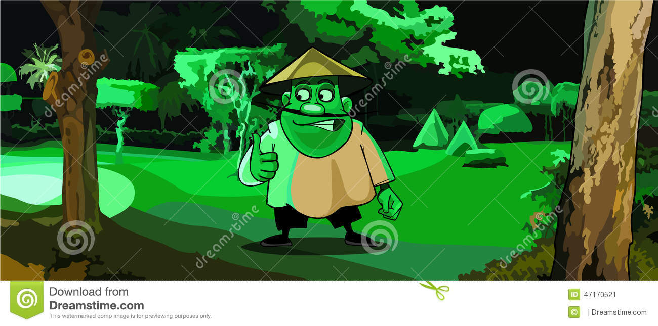 Stock Vector  Cartoon Man In The Vietnamese Hat In A Park In The Green