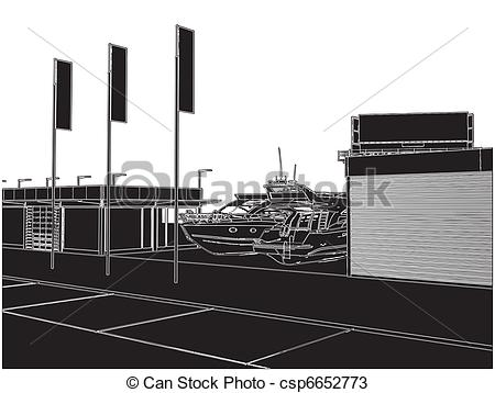 Vector   Car And Yacht Dealership Building   Stock Illustration