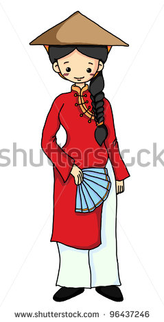Vietnamese Girl In Red Vietnamese Traditional Costume   Stock Photo