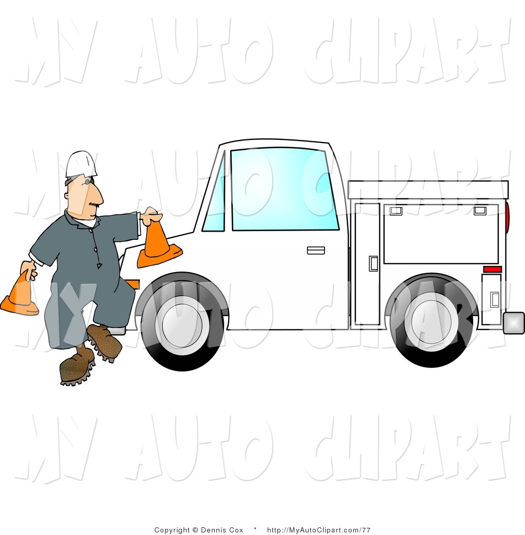 Worker Putting Out Traffic Cones Around His Utility Truck By Djart
