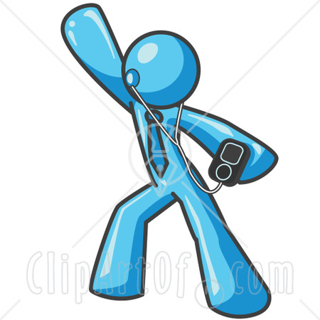 24056 Clipart Illustration Of A Light Blue Man Dancing And Listening