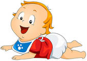 Baby Lying On Stomach   Clipart Graphic