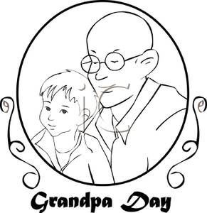 Black And White Plaque For Grandpas Day   Royalty Free Clipart Picture