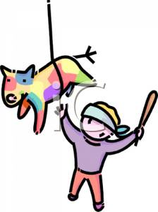 Boy Trying To Hit A Pinata With A Bat   Royalty Free Clipart Picture