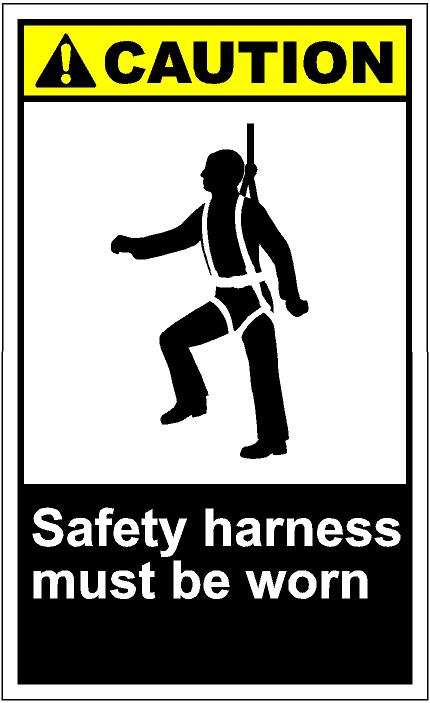 Cautv256   Safety Harness Must Be Worn Eps