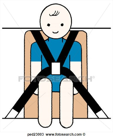Child In Car Seat With Seat Belt Harness   Fotosearch   Search Clipart