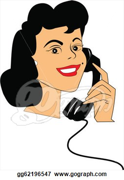 Clip Art   Retro Lady On Rotary Phone Over White   Stock Illustration