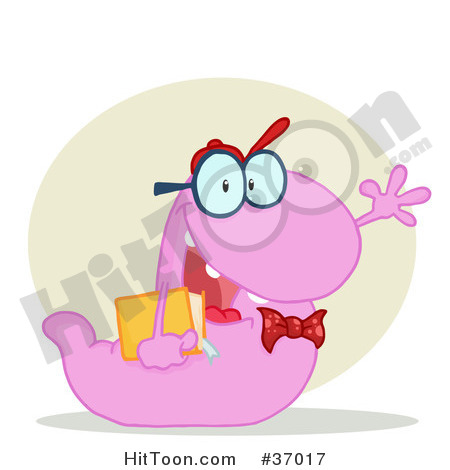 Clipart Illustration Of A Friendly Purple School Worm Student Waving