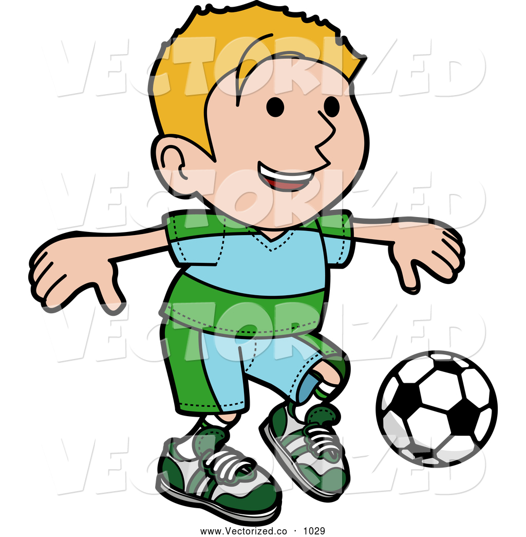 Clipart Of A Smiling And Happy Blond Boy Ion A Blue And Green Uniform