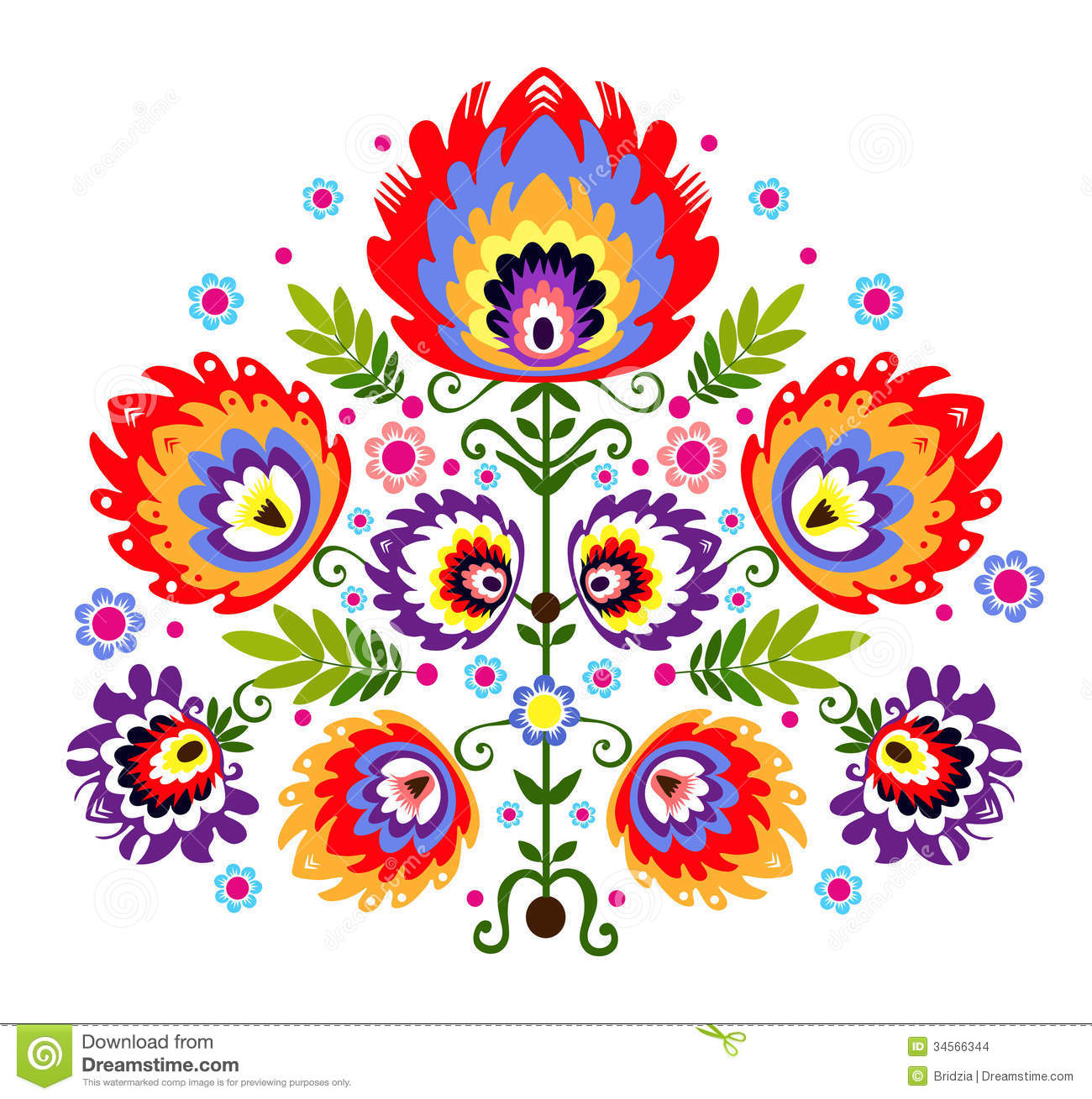 Folk Embroidery Flowers Stock Images   Image  34566344