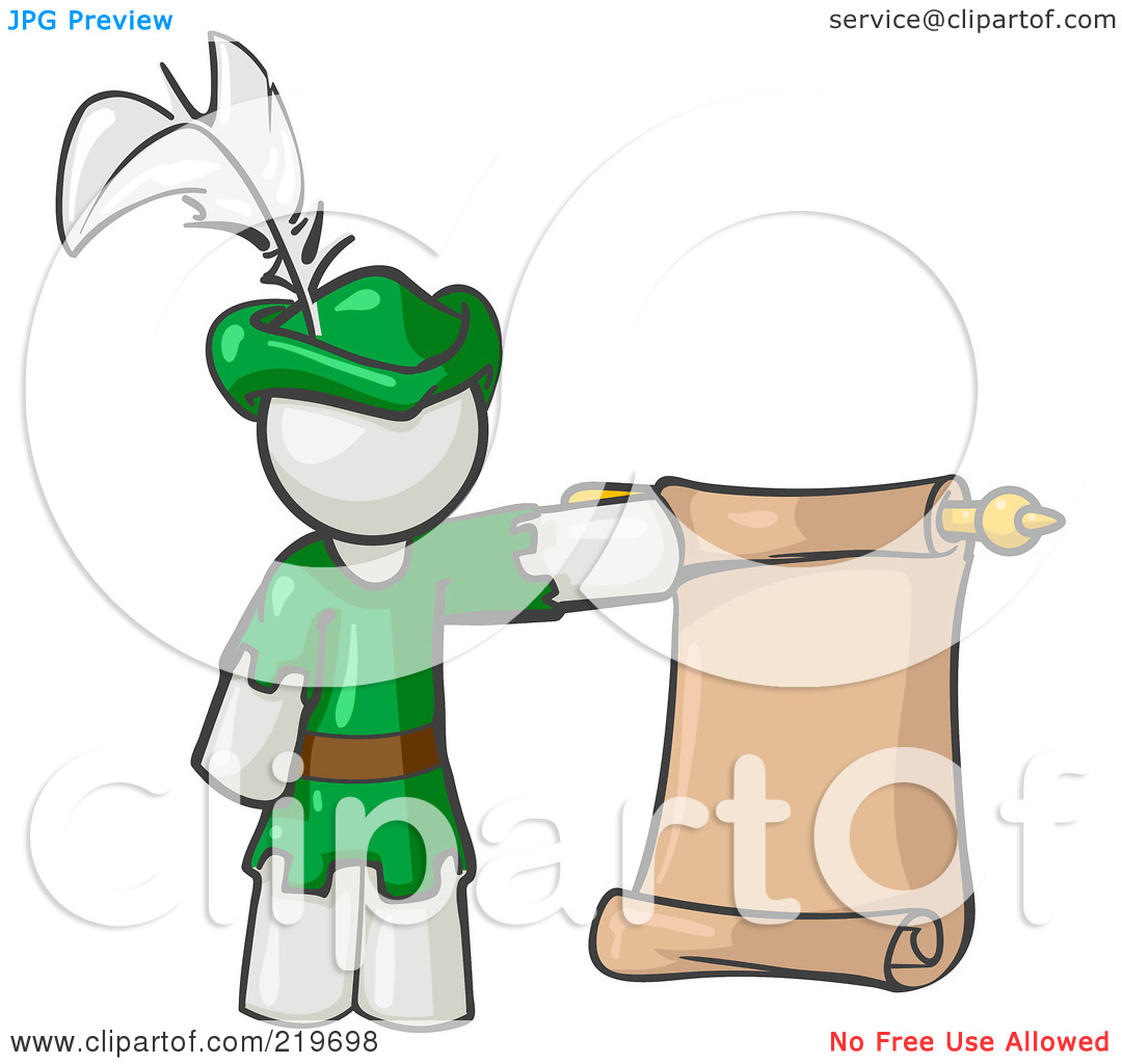 Free  Rf  Clipart Illustration Of A White Man Dressed As Robin Hood