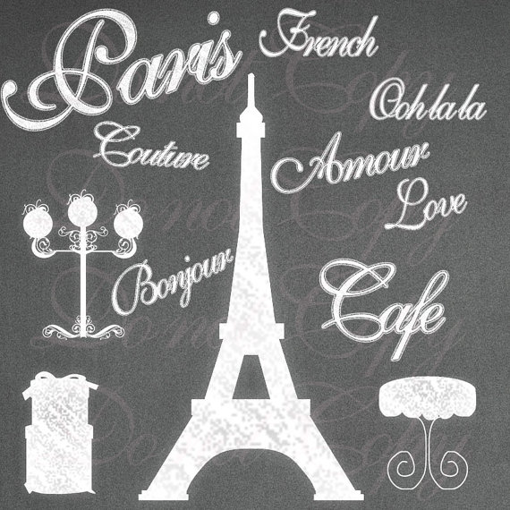 Instant Download Chalk Paris Shabby French Boutique Eiffel Tower Chic