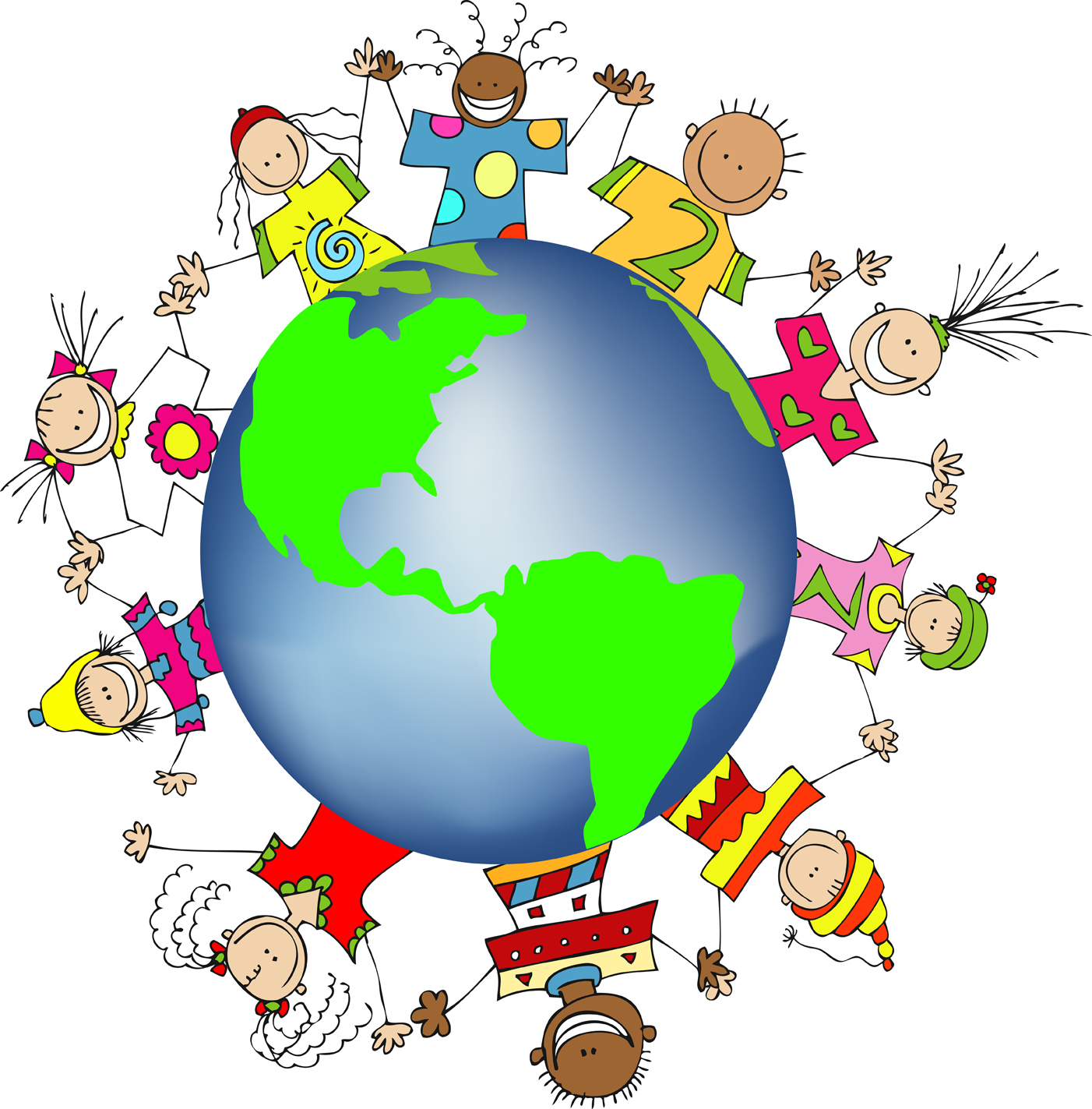Kids World Hands Friends Networks Globe Illustration Small   Free