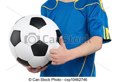 Little Boy In Ukrainian National Soccer Uniform With Classic Soccer