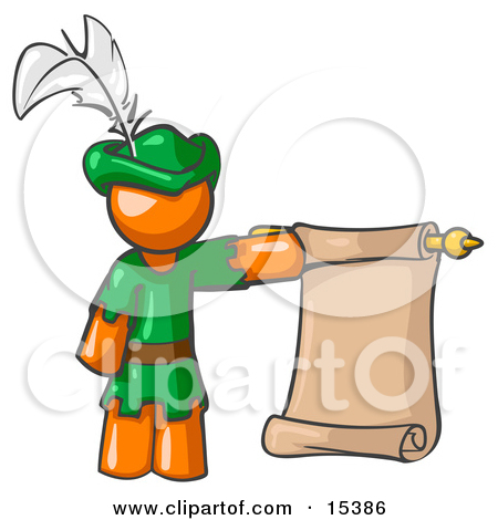 Man Dressed As Robin Hood With A Feather In His Hat Holding Clipart