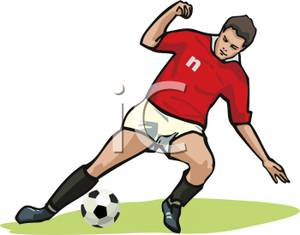 Man In A Red Uniform Kicking A Soccer Ball Clipart Image