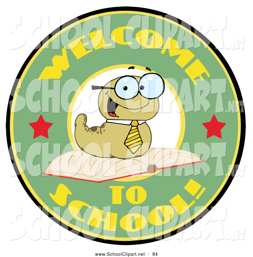 Of A Cute Green Worm On A Green Welcome To School Circle By Hit Toon