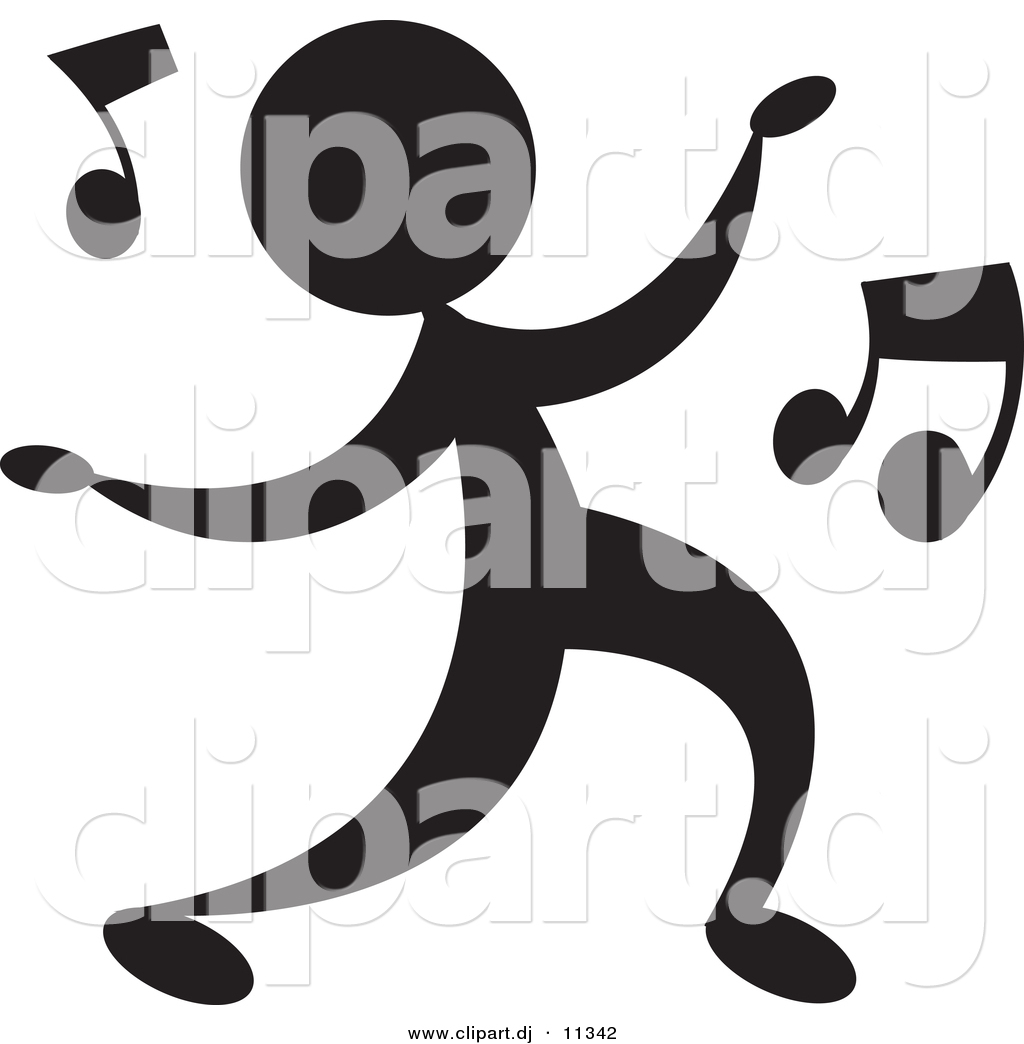 Person Dancing With Music Notes   Silhouette