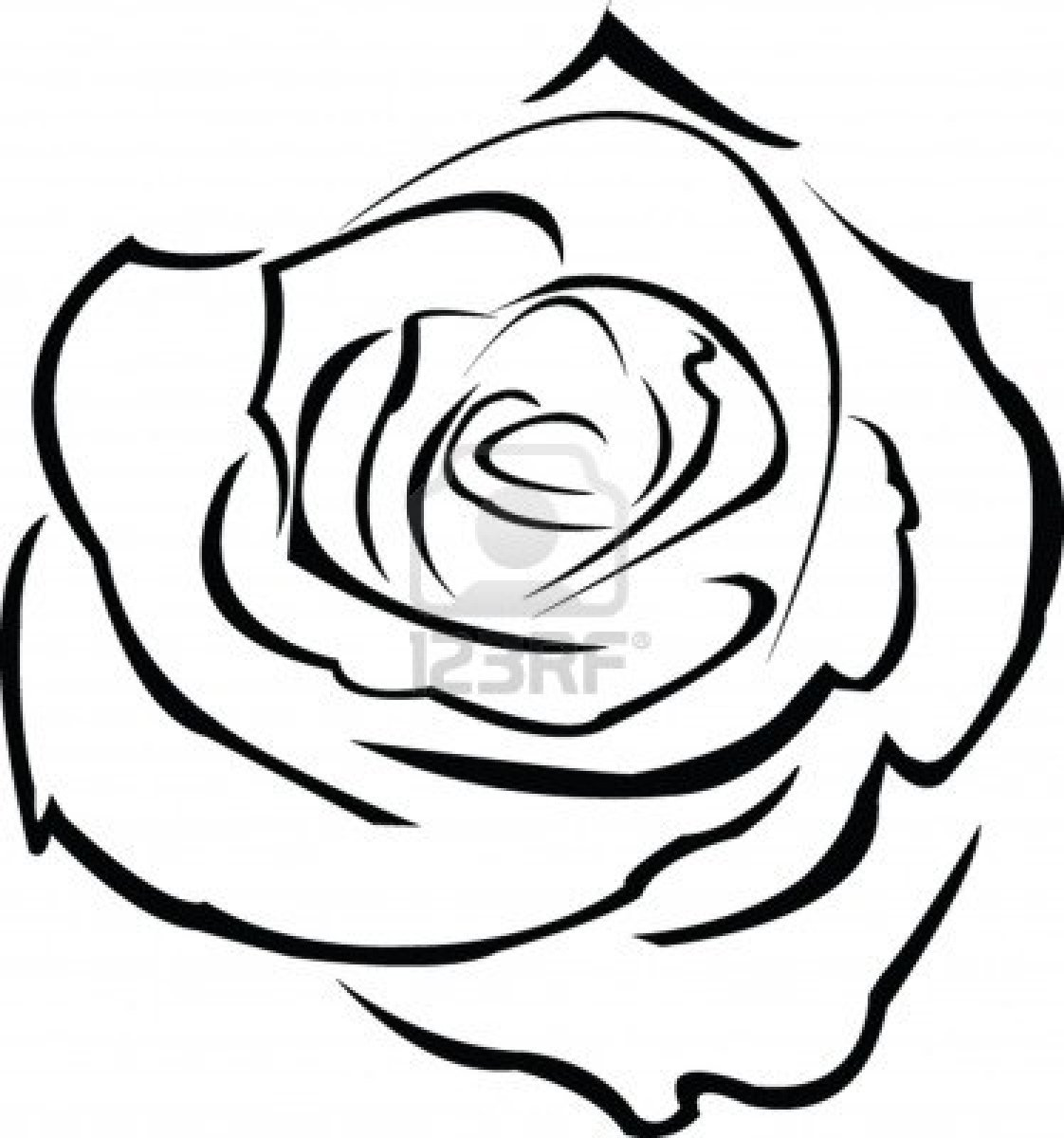 Rose Outline Clipart - Clipart Suggest