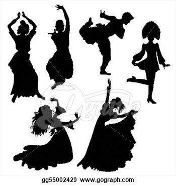 Stock Illustration Ilhouettes Of Folk Dancers Gg55002429 Clipart