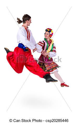 Stock Photo Of Beautiful Dancing Couple In Ukrainian Polish National