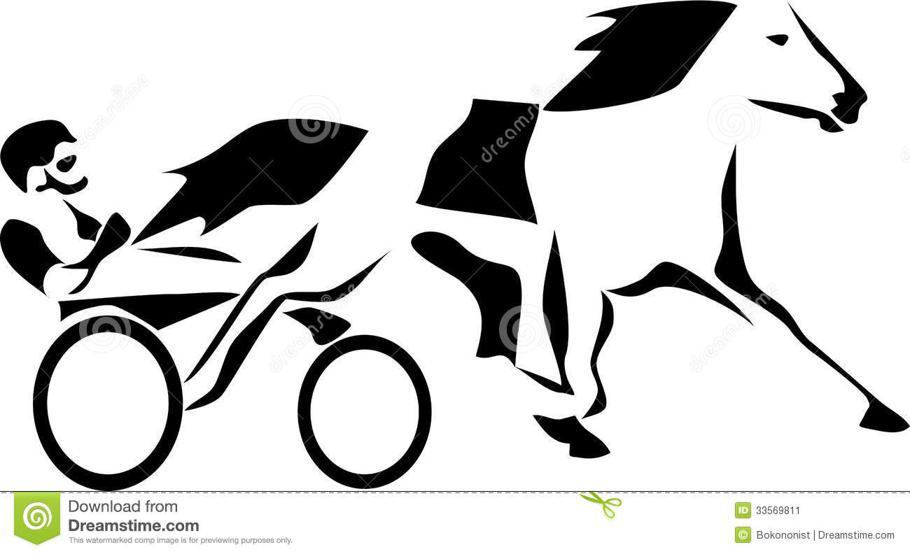 Stylized Harness Racing   Black And White Illustration