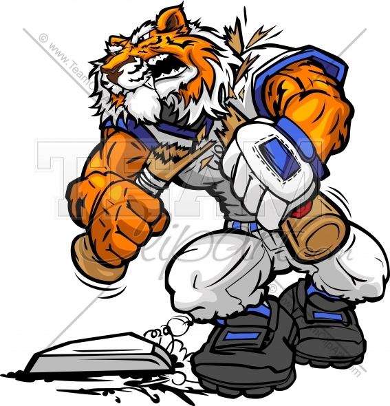 Tiger Baseball Cartoon   Tiger Mascot Breaking Bat Clipart Image