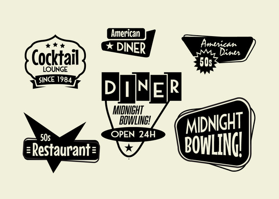 50s Diner Bowling And Cocktail Sign Pack   Download Free Vector Art