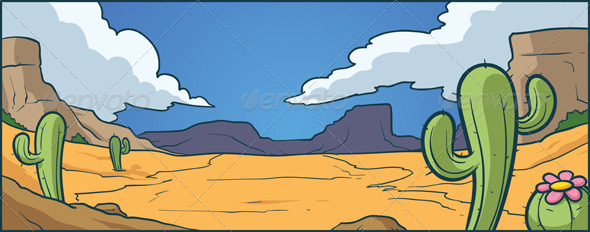 Cartoon Desert Background  Vector Clip Art Illustration With Simple