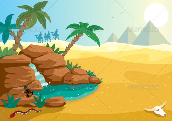 Cartoon Illustration Of Small Oasis In The Sahara Desert  A4