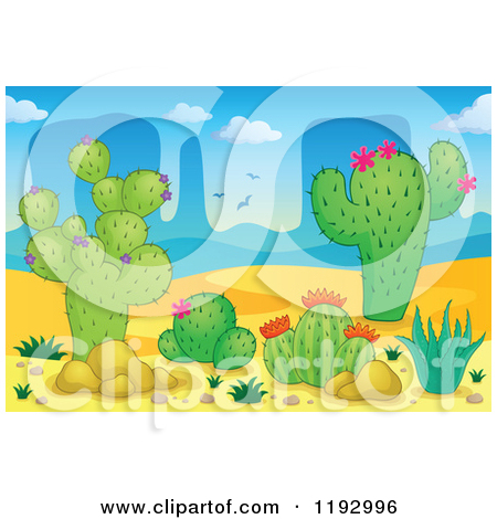 Cartoon Of A Desert Landscape With Cacuts And Aloe Plants   Royalty