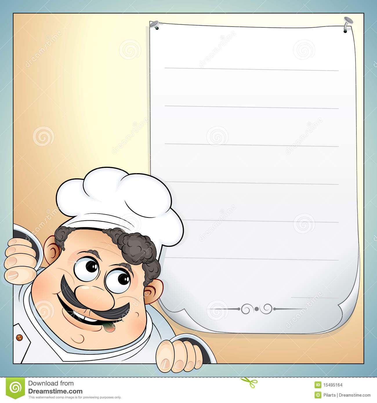 Chef With Menu Stock Images   Image  15495164