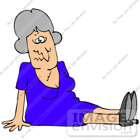 Clip Art Graphic Of A Confused Elderly Caucasian Woman Sitting On The