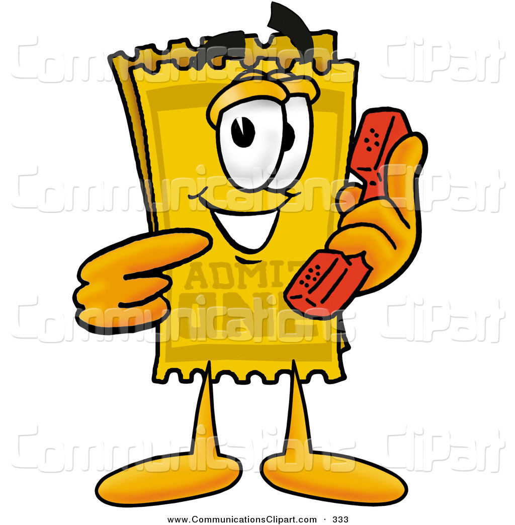 Communication Clipart Of A Yellow Movie Theater Admission Ticket