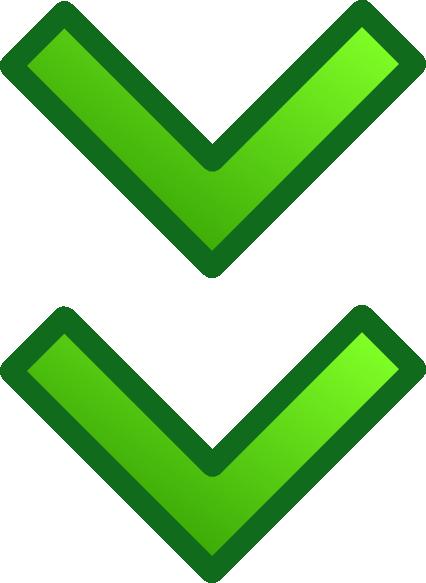 Green Down Double Arrows Set Clip Art   Vector Clip Art Online