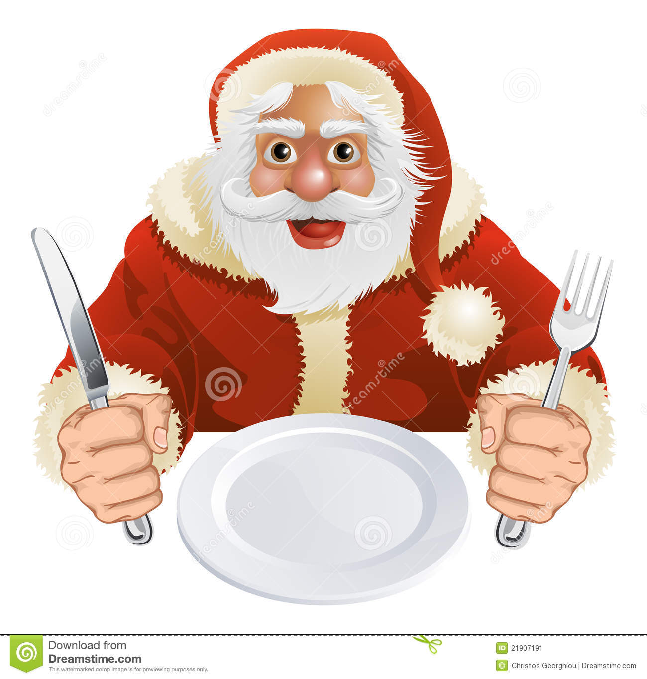 Illustration Of Santa Claus Seated For Christmas Dinner With Empty