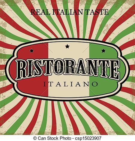Vector Clipart Of Italian Restaurant Vintage Poster   Italian