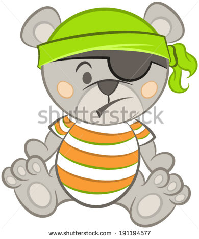 Vector Of Cute Teddy Bear Pirate With Bones And Type  Little Pirate