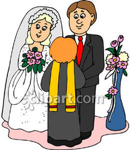 Bride And Groom Getting Married   Royalty Free Clipart Picture