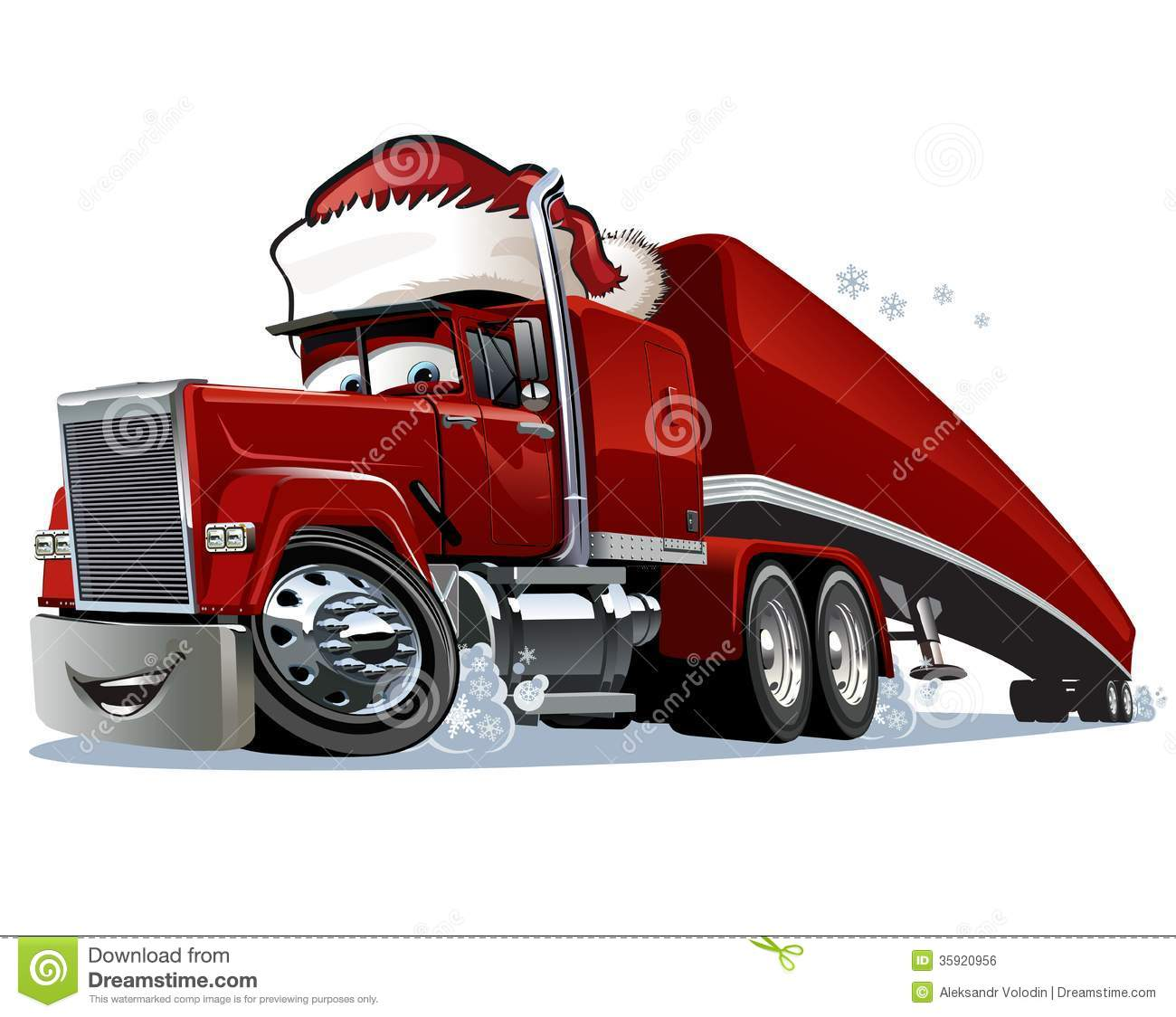 Cartoon Christmas Truck Isolated On White Background  Available Eps 10