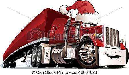Cartoon Christmas Truck Isolated On White Background  Available Eps 8