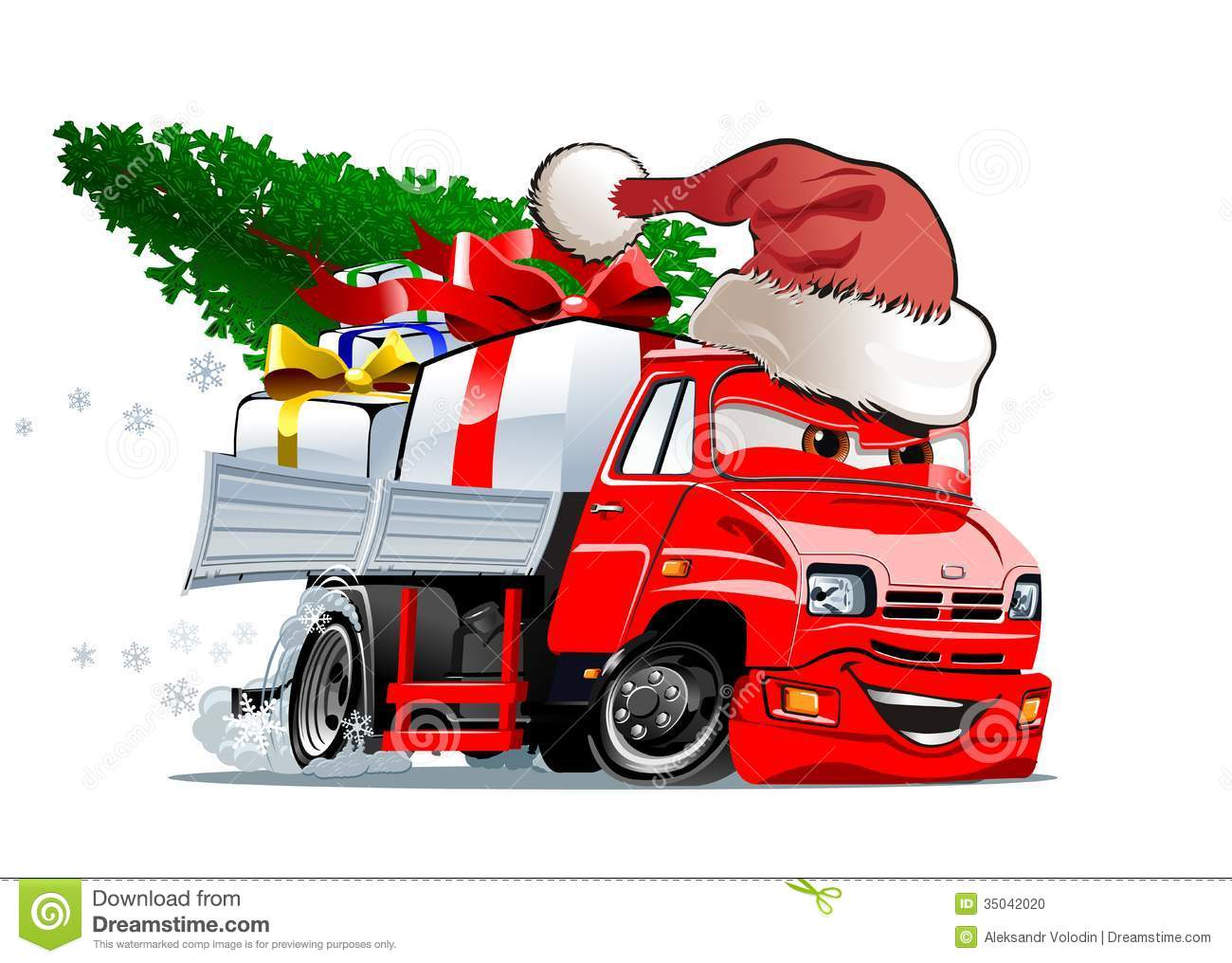 Cartoon Christmas Truck On White Background  Available Eps 10 Vector