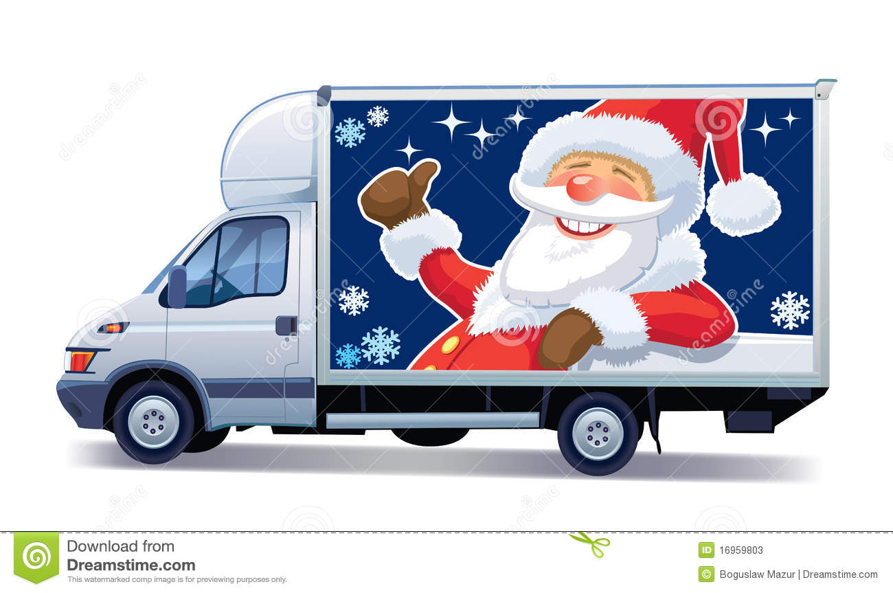 Christmas Commercial Vehicle   Delivery Truck With Santa Claus