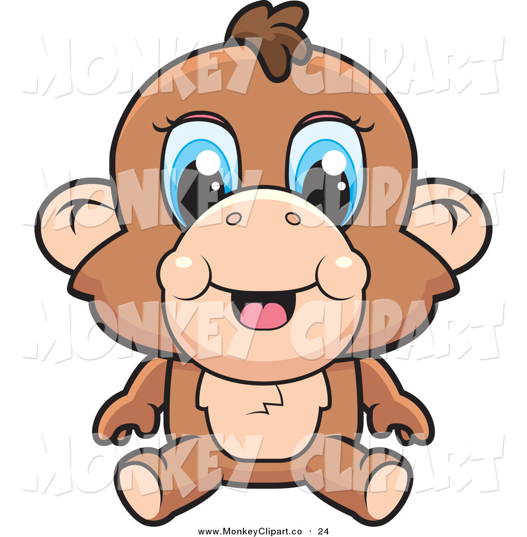 Clip Art Of A Cute Baby Monkey With Blue Eyes Sitting Down By Cory