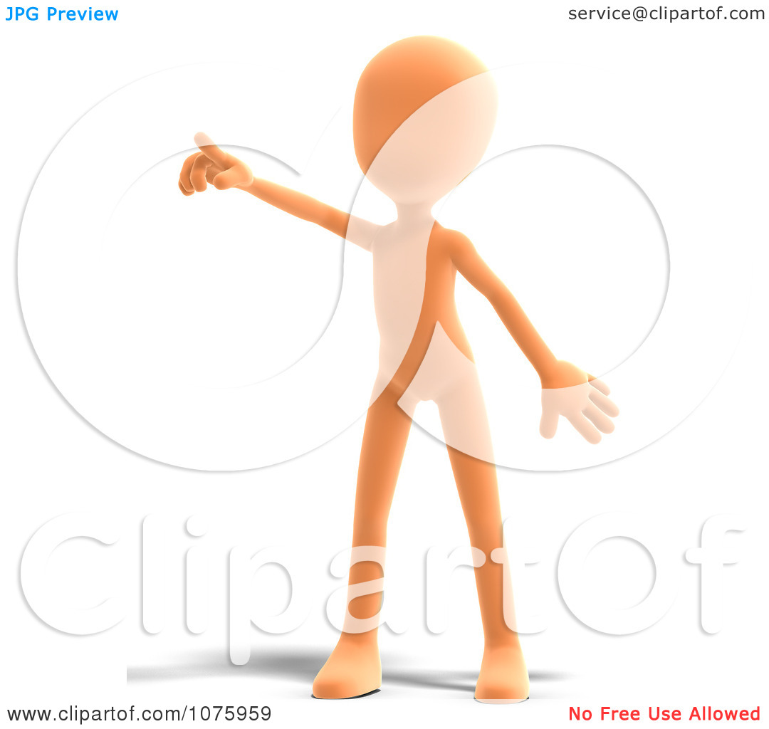 Clipart 3d Orange Person Pointing   Royalty Free Cgi Illustration By