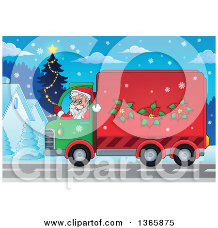 Clipart Of A Cartoon Happy White Man Driving A Delivery Truck