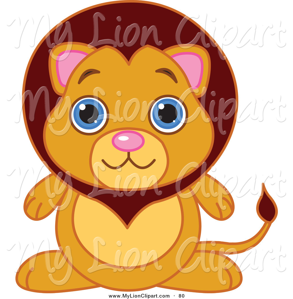 Clipart Of A Cute Baby Male Lion With Big Blue Eyes By Pushkin    80