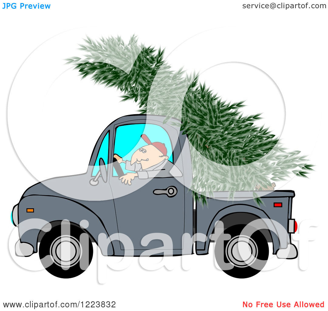Clipart Of A Man Driving A Pickup Truck With A Christmas Tree On Top