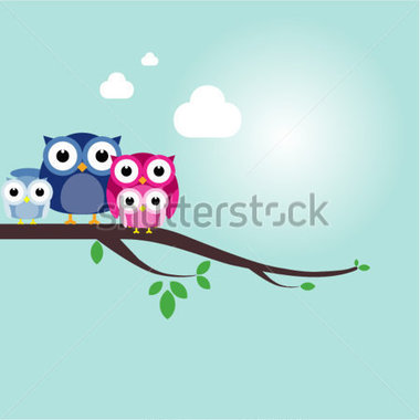 Cute Owl Family Clipart Owl Family On The Branch Christmas Banner
