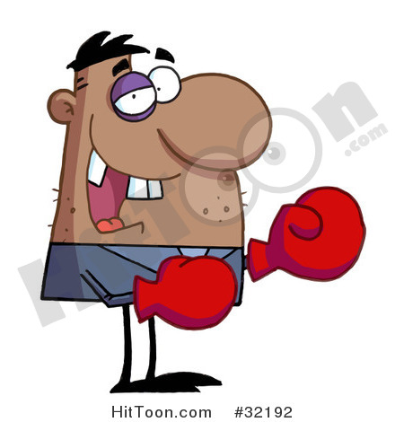 Fighting Clipart  32192  Grinning Boxer With Missing Teeth And A Black